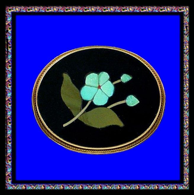 FORGET ME NOT 18K Gold Pietra Dura Handcrafted Italian Italy Antique Victorian Pin Brooch