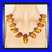 SALE BALTIC AMBER Mid Century Modern Handwrought Copper Necklace