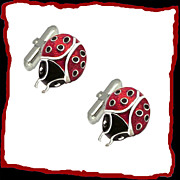 SALE LADYBUG Sterling Silver Red  Black  Enamel Good Luck Vintage Cuff Links