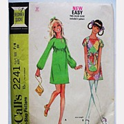Vintage Pattern McCalls 2241 Junior Teen MiniDress  1969 Size 7/8