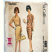 Vintage 1960s Dress Pattern Mc Calls 6805  Misses Sz 12 Uncut 1963