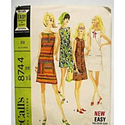 SOLD Vintage Mini Dress Pattern McCalls 8744  6 Versions 1967 Misses Size 12