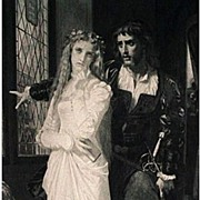 Hamlet and Ophelia 1879 Antique Photogravure Print