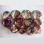 Vintage Glass Buttons 12 Multicolor Radiants