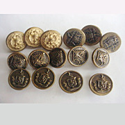 SOLD Vintage Metal Buttons Shields Eagles Heraldry 4 Styles - Red Tag Sale Item