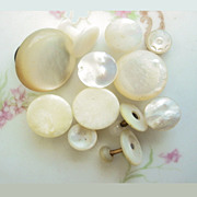 Single Antique Mother of Pearl Shirt Studs 12 Assorted
