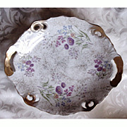 Trimont Porcelain Dish Wildflowers Gold Trim with Handles