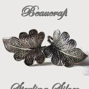 Vintage Beaucraft Sterling Silver Earrings ScrewBack Leaves