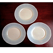 SOLD 3 Ivrene Cremax Bread & Butter Plates Petalware Depression Glass