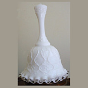 SOLD Vintage Fenton Spanish Lace Silver Crest Milk Glass Bell