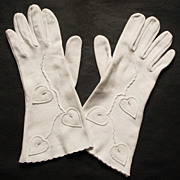 Vintage Lady Gay Gloves Ivy Leaf Applique Size 7