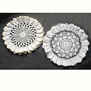 2 Vintage Ruffled Crocheted Table Mats Yellow and White