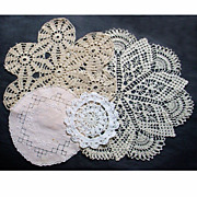 4 Piece Vintage Doily Assortment