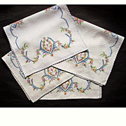 Set 4 Vintage Cross Stitch Embroidered Table Mats