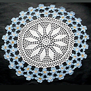 Vintage Crocheted Table Mat Forget Me Not Flower  Border