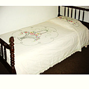 Hand Embroidered Vintage Bed Spread Flower Basket Design