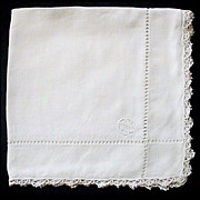 Vintage Linen Hanky Tatted Edge Drawn Work Monogram EFA