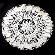 Vintage Crocheted Centerpiece Doily Large White Petal Border