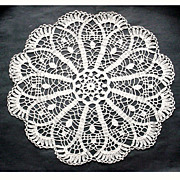 SALE PENDING Large Vintage Crocheted Doily Scalloped Round