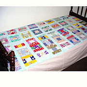 Vintage Child Size Quilt Cover Homemade Pieced Block Design
