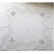 Vintage Embroidered Tablecloth with DrawnWork