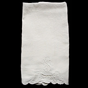 SOLD Vintage Linen Fingertip Towel  Cutwork Monogram S