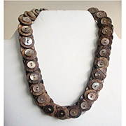 Vintage Button Necklace Coconut Shell & Abalone