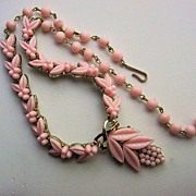 Vintage Coro Pink Flower Necklace