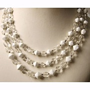 Vintage Milk Glass Necklace 3 Strand Japan