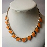 Vintage Moonglow Lucite Necklace Soft Orange Thermoset Geometric