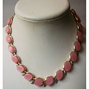 Vintage Lucite Moonglow Necklace Soft Pink Thermoset Ovals