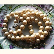Classic Vintage Faux Pearl Necklace with Sterling Silver Clasp