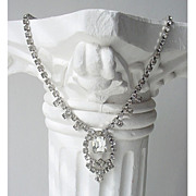 Vintage Rhinestone Drop Necklace - Art Deco Style Beauty
