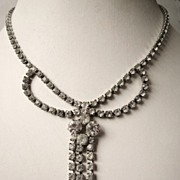 Vintage Rhinestone Fringe Necklace with Tassel Bridal Jewelry