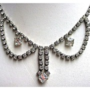Vintage Choker Length Rhinestone Festoon Necklace