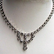 Vintage Rhinestone Necklace with Drop - Choker Length