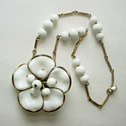 Vintage Crown Trifari Camellia Milk Glass Necklace 1950s