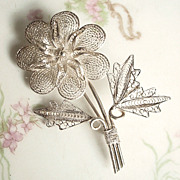 Vintage Filigree Flower Brooch 990 Silver