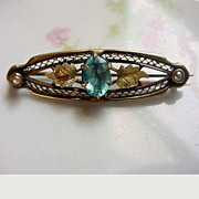 Antique Lace Pin  Aqua Glass & Seed Pearls Signed GCM