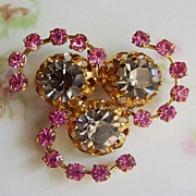 Vintage Rhinestone Pinwheel Brooch Pink and Grey Made in Austria