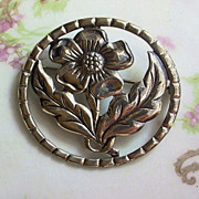 Vintage Sterling Silver Flower Brooch Pierced Circle