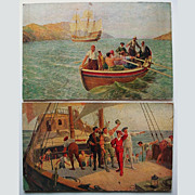2 Antique Raphael Tuck Oilette Prints Howard Davie SS Nerissa