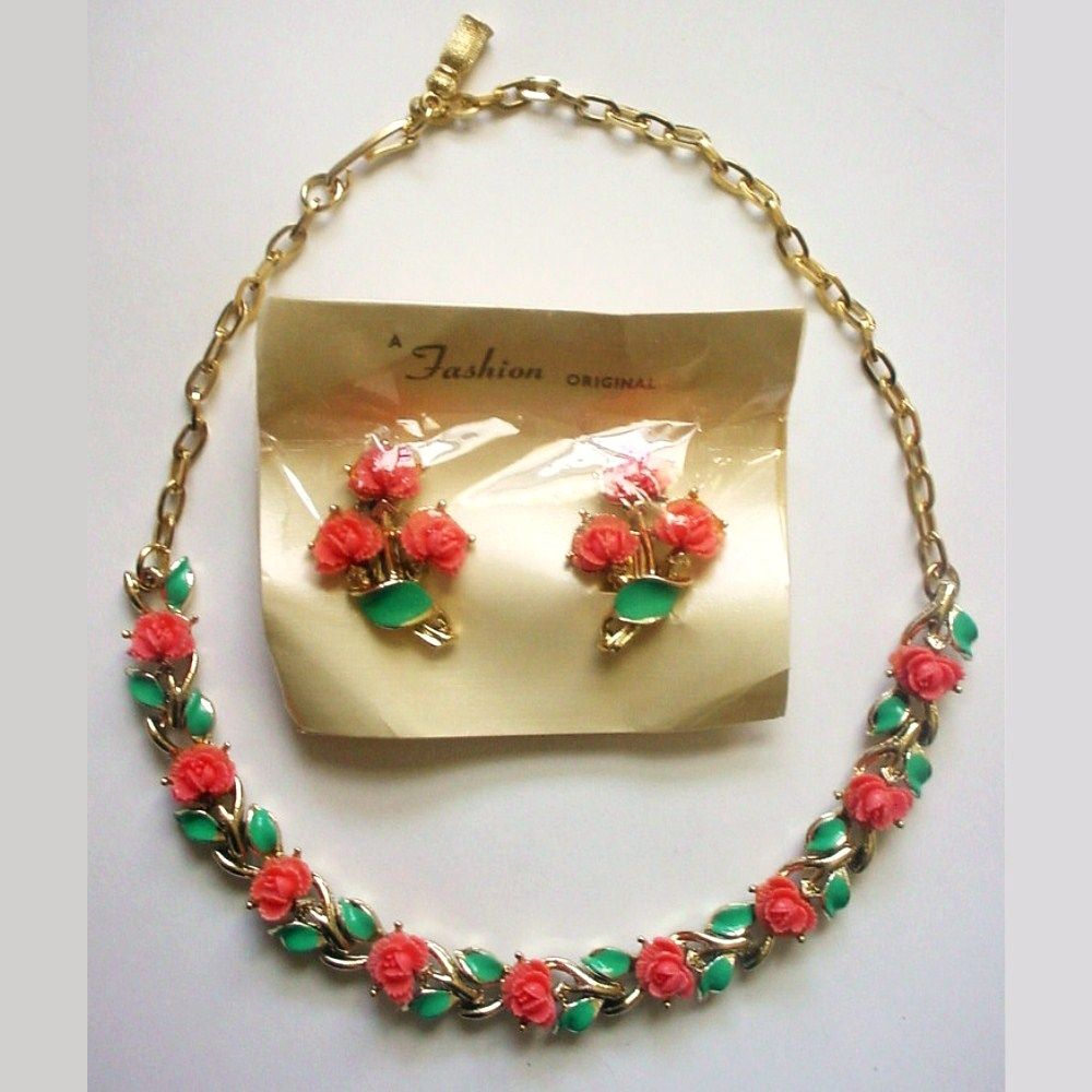 Vintage Necklace and Earrings Pink Roses w Enamel Leaves