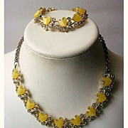Vintage Moonglow Lucite Demi Parure Yellow Thermoset Chevrons