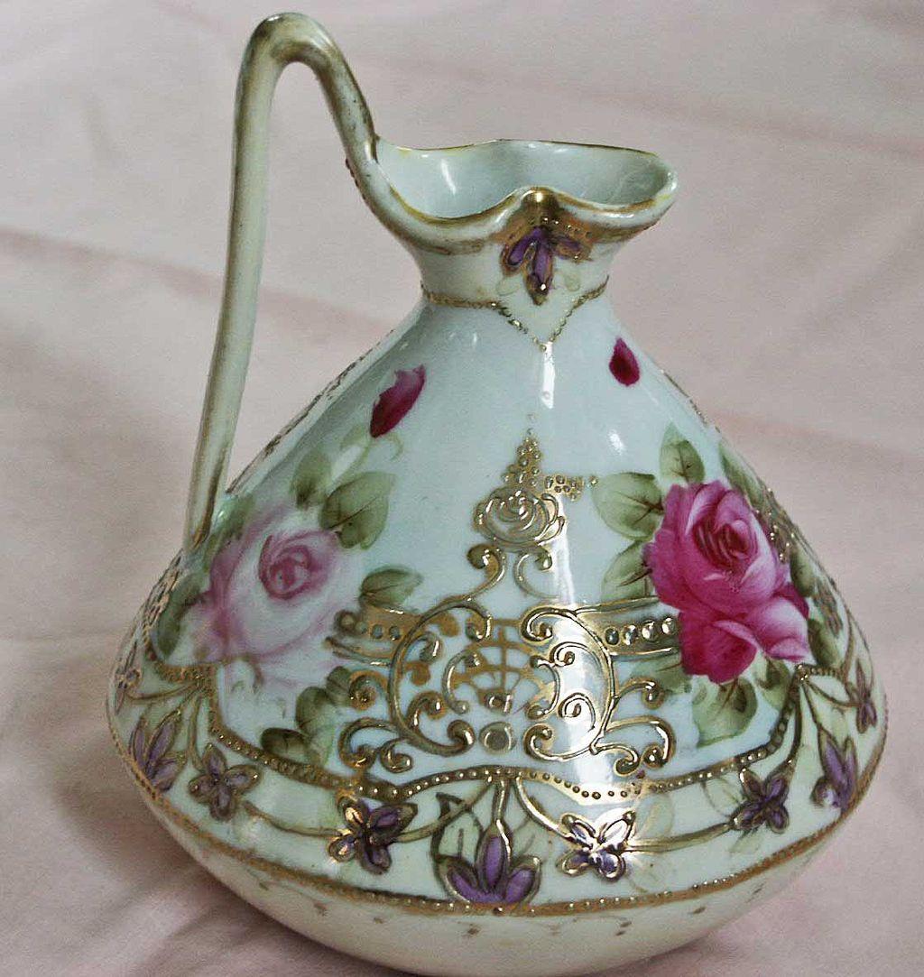 Nippon Porecelain Ewer Handpainted Roses Moriage | eBay