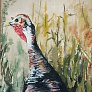 Old Bright Watercolor of a Wild Turkey The Hunted Sheppard