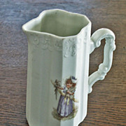 Charming Tankard Pitcher with Little Girl in Victorian Clothing