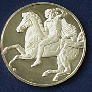 24K Gold Over Silver Medallion Greek Horseman 2. Oz.