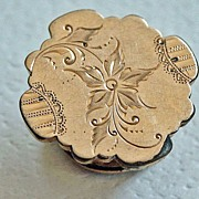 1883 Gold Fill Lapel or Stud Button Pin with Floral Engraving