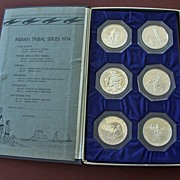 Six Silver Rounds Indian Tribal Series Franklin Mint 1974